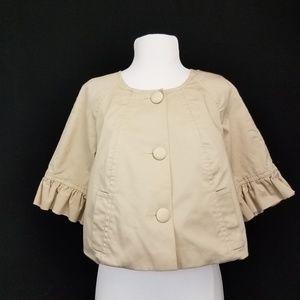 Express Cropped Jacket Blazer Ruffle Sleeve Tan L